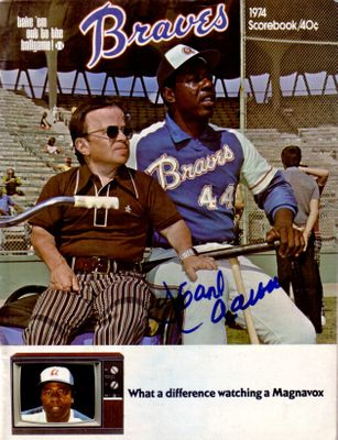 Hank Aaron autographed Atlanta Braves Home Run 715 game program