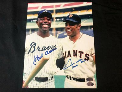 Hank Aaron and Willie Mays autographed 8x10 color photo (GTSM and Mounted Memories)