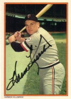 Harmon Killebrew autographed Minnesota Twins 1985 Topps Circle K All Time Home Run Kings card