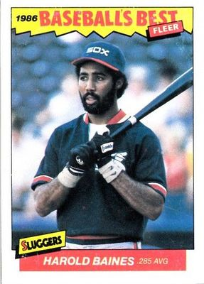 Harold Baines Chicago White Sox 1986 Fleer Sluggers vs. Pitchers box bottom card RARE