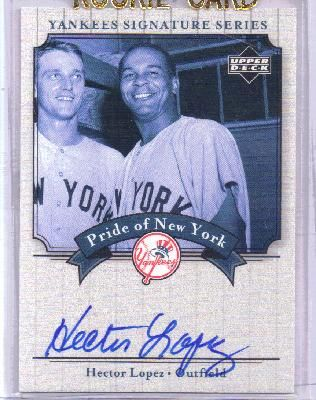 Hector Lopez certified autograph New York Yankees 2003 Upper Deck card
