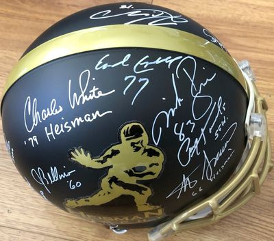 Heisman Trophy full size game helmet autographed by 13 winners Kyler Murray Earl Campbell Tony Dorsett Paul Hornung Steve Spurrier (BAS authenticated)