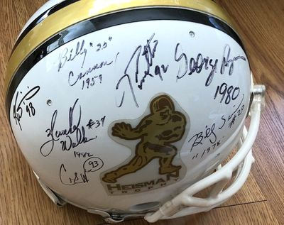 Heisman Trophy Riddell full size game model helmet autographed by 10 winners (Billy Cannon Bo Jackson Herschel Walker Charlie Ward Ricky Williams)