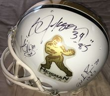 Heisman Trophy Riddell full size game model helmet autographed by 8 winners (Bo Jackson Mike Rozier Billy Sims Herschel Walker)