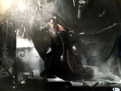 Henry Cavill autographed Man of Steel 16x20 poster size photo (BAS authenticated)