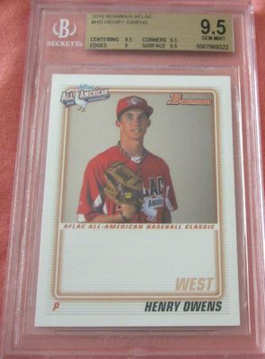 Henry Owens 2010 AFLAC Bowman Rookie Card graded BGS 9.5 (GEM MINT)