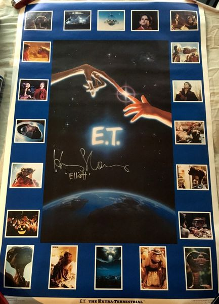 Henry Thomas autographed E.T. 23x35 inch montage movie poster inscribed Elliott