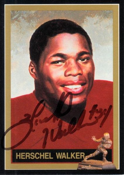 Herschel Walker autographed 1982 Heisman Trophy winner card
