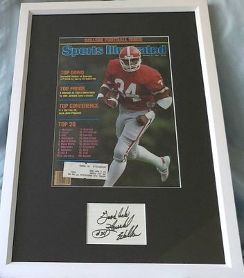 Herschel Walker autographed index card framed with Georgia Bulldogs 1981 Sports Illustrated cover