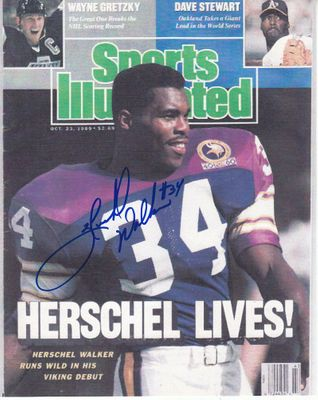 Herschel Walker autographed Minnesota Vikings 1989 Sports Illustrated cover 8x10 print