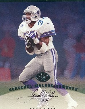 Herschel Walker certified autograph Dallas Cowboys 1997 Leaf 8x10 photo card