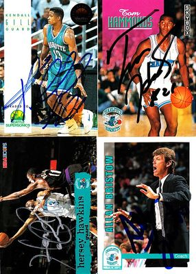 4 Charlotte Hornets autographed 1990s cards (Kendall Gill Hersey Hawkins)