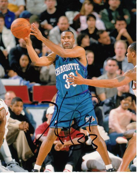 Hersey Hawkins autographed Charlotte Hornets 8x10 photo