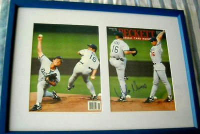 Hideo Nomo autographed Los Angeles Dodgers Beckett Baseball cover matted and framed