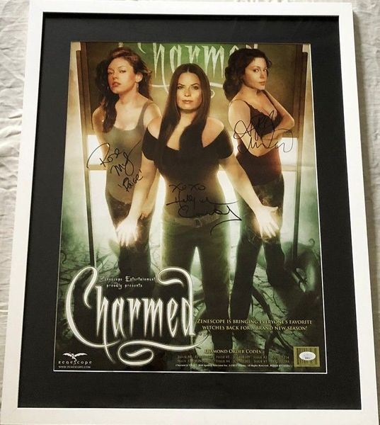 Holly Marie Combs Rose McGowan Alyssa Milano cast autographed CHARMED 17x22 inch poster framed (JSA)