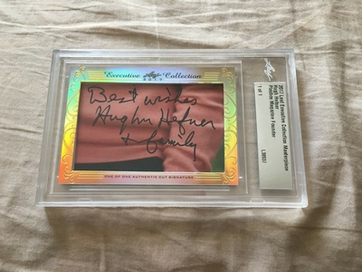 Hugh Hefner 2017 Leaf Masterpiece Cut Signature certified autograph card 1/1 JSA Playboy