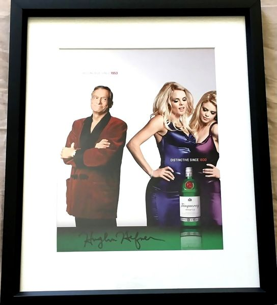 Hugh Hefner autographed Tanqueray full page magazine photo ad matted and framed