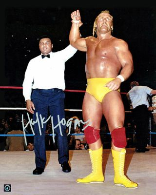 Hulk Hogan autographed Wrestlemania 16x20 poster size photo with Muhammad Ali (Authentic Signings)
