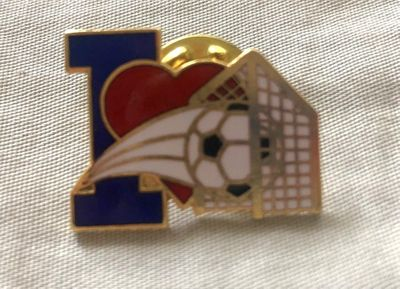 I Love Soccer gold lapel pin