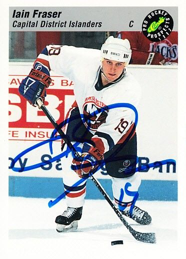 Iain Fraser autographed Capital District Islanders 1993 Classic Pro Hockey Prospects card