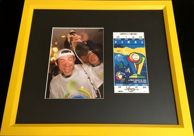 Ichiro Suzuki autographed 2006 World Baseball Classic Final ticket framed with Team Japan celebration photo