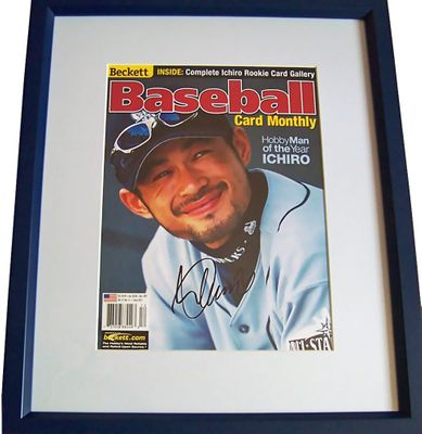 Ichiro Suzuki autographed Seattle Mariners 2001 Beckett Baseball cover matted and framed