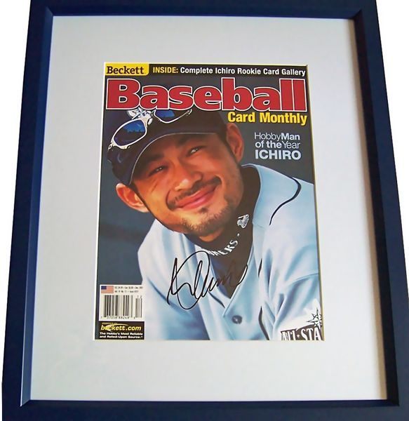 Ichiro Suzuki autographed Seattle Mariners 2001 Beckett Baseball magazine cover matted and framed