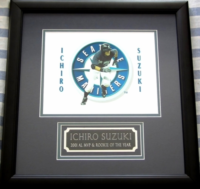 Ichiro Suzuki Seattle Mariners 8x10 photo matted and framed with 2001 AL MVP and Rookie of the Year nameplate