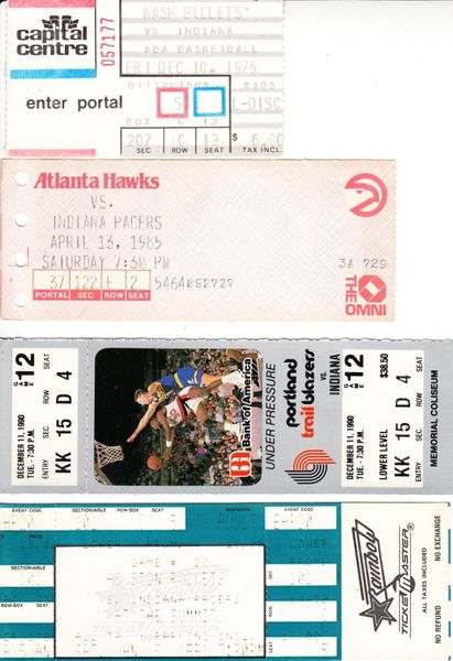Indiana Pacers lot of 4 vintage road game tickets (Reggie Miller)