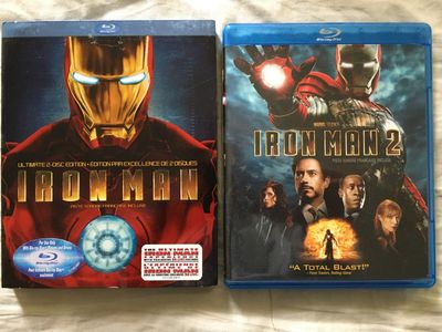 Iron Man and Iron Man 2 movies on Blu-ray DVDs