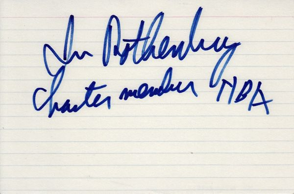 Irv Rothenberg autographed index card inscribed Charter member NBA