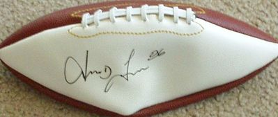 Irving Fryar autographed full size white panel football