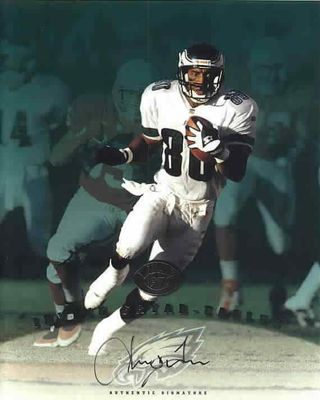 Irving Fryar certified autograph Philadelphia Eagles 1997 Leaf 8x10 photo card