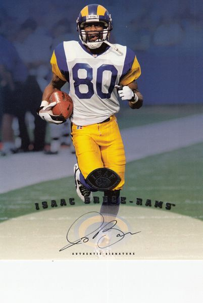 Isaac Bruce certified autograph St. Louis Rams 1997 Leaf 8x10 photo card