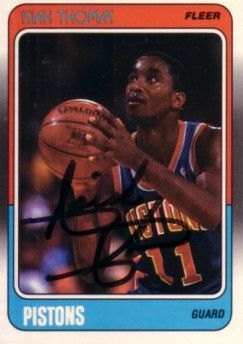 Isiah Thomas autographed Detroit Pistons 1988-89 Fleer card (full name signature)