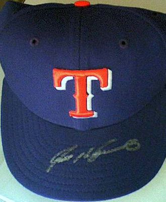 Ivan (Pudge) Rodriguez autographed Texas Rangers authentic game model cap or hat (Fleer authenticated)