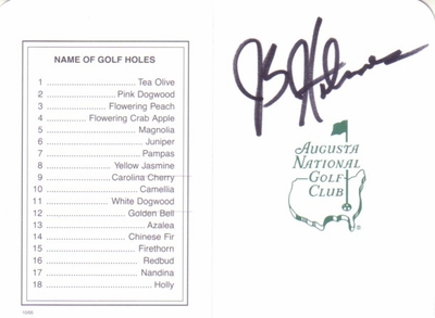 J.B. Holmes autographed Augusta National Masters scorecard