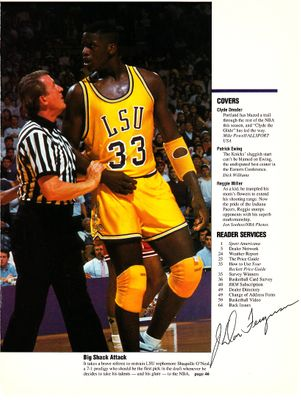 J. Don Ferguson autographed 1991 basketball magazine photo (with Shaquille O'Neal)