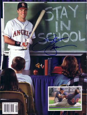 J.T. Snow autographed Angels Beckett magazine back cover photo