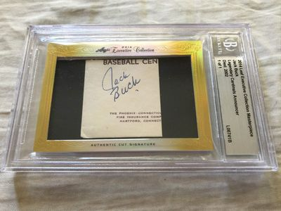 Jack Buck 2014 Leaf Masterpiece Cut Signature certified autograph card 1/1 JSA