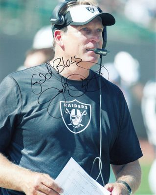 Jack Del Rio autographed Oakland Raiders 8x10 photo inscribed God Bless