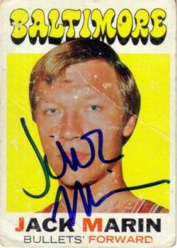Jack Marin autographed Baltimore Bullets 1971-72 Topps card