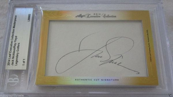 Jack Nicklaus and Ray Floyd 2014 Leaf Masterpiece Cut Signature certified autograph card 1/1 JSA