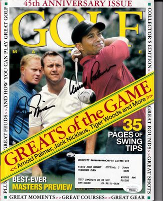 Jack Nicklaus and Arnold Palmer autographed 2004 Golf Magazine JSA
