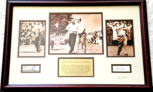 Jack Nicklaus and Arnold Palmer autographs matted and framed with 3 vintage golf photos (#327/1000)