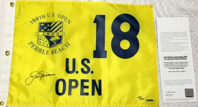 Jack Nicklaus autographed 2000 U.S. Open golf pin flag #68/500 (UDA)