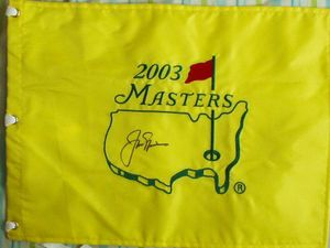 Jack Nicklaus autographed 2003 Masters golf pin flag