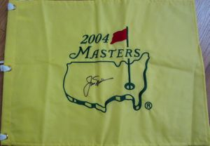 Jack Nicklaus autographed 2004 Masters golf pin flag