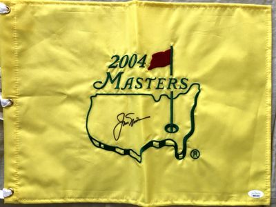 Jack Nicklaus autographed 2004 Masters golf pin flag (JSA)