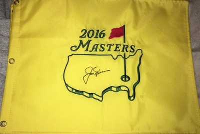 Jack Nicklaus autographed 2016 Masters golf pin flag